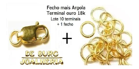 Lote Fecho + 10 Terminais Argola P/correntes Ouro 18k-750