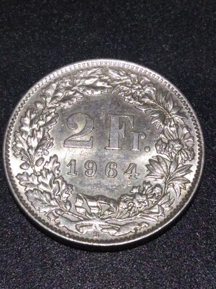 Moneda De Plata,2 Francos,suizos 1964