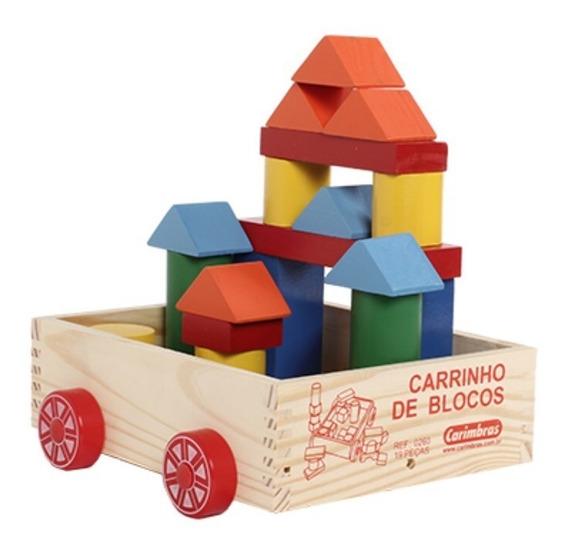 Brinquedo Educativo Madeira Carrinho Blocos