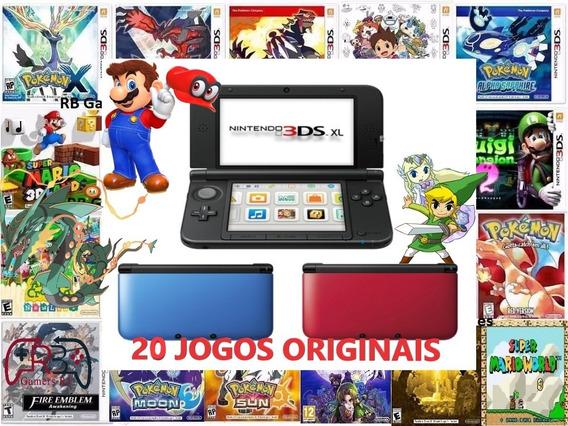 Nintendo 3ds Xl + 20 Jogos Originais + Carregador + 32gb