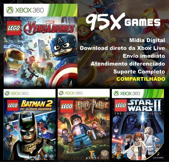 Combo 4 Jogos Lego - Midia Digital Xbox 360