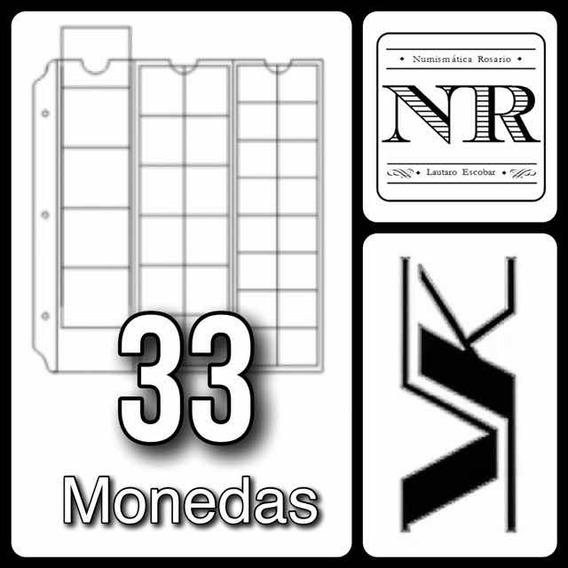 5 Hojas Para Monedas Formato Clasico - Vk - 33 Espacios