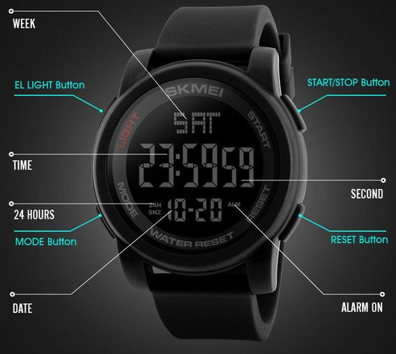 Relógio Skmei 1257 Preto Digital 50mt Original Esportivo Led