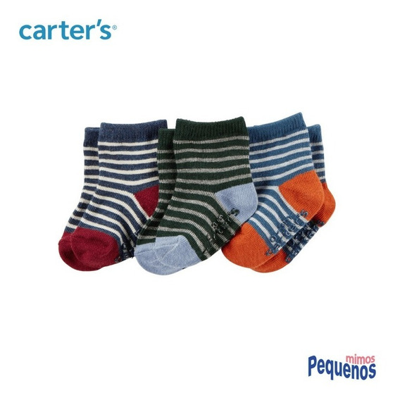 Kit 3 Pares De Meia Bebê Menino Listras Carter
