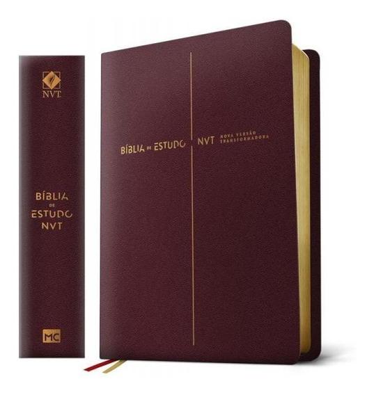 Biblia De Estudos - Nvt - Vinho - Mundo Cristao