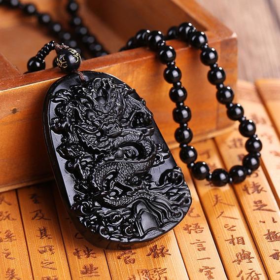 Colar Dragão Budista Corrente Pingente Pedra Obsidiana Buda