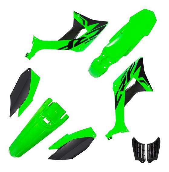 Kit Plástico Evo Biker Crf 250f Com Adesivos Verde Oem / Preto