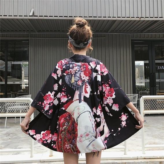 Mujeres Chica Kimono Japonés Abrigo Suelto Yukata Outwear T