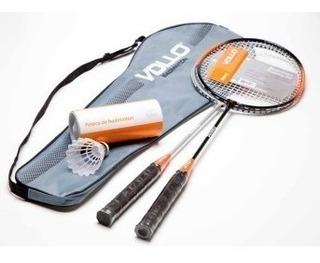 Kit Badminton 2 Raquetes 3 Petecas - Vollo