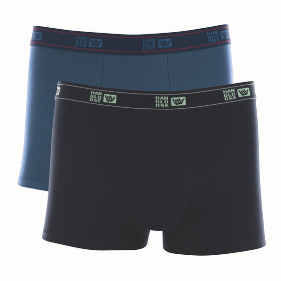 Kit 2 Cuecas Boxer Cotton Hang Loose Azul/preto 59461