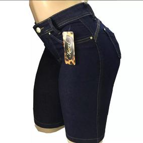 Kit 3 Bermuda Jeans Feminina Cintura Alta Ciclista Plus Size