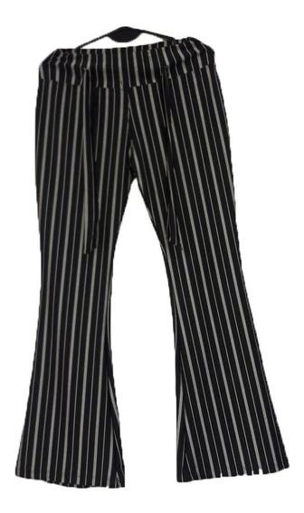 Pantalon Calza Oxford Rayado, Negro Liso. Talle S- Xxl