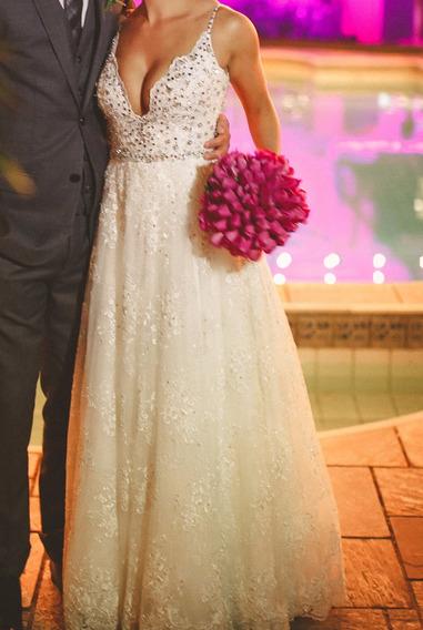 Vestido De Noiva - Todo Bordado Com Cristais Swarovski
