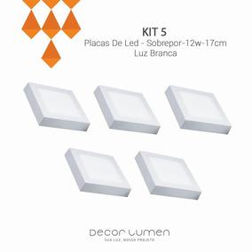 5 Placas De Led - Sobrepor-12w-17cm- Luz Branca