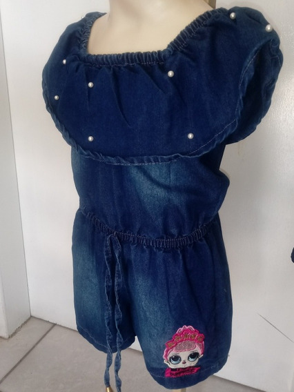 Macaquinho Jeans Loll Surprise Pérolas Ciganinha Verão