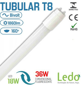 Kit 10 Lâmpada Tubular T8 120cm 18w 4000k Branco Neutro