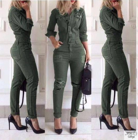 2 Macacao Longo Feminino Jeans Verde E Lup Mg