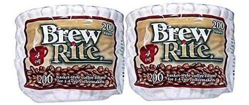 Brew Rite 4 Tazas De Cafe Con Filtros Desechables - 400 Ct