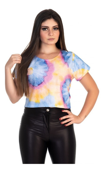 Camiseta Tie Dye Cropped Feminino Tendencia Multicolor Linda