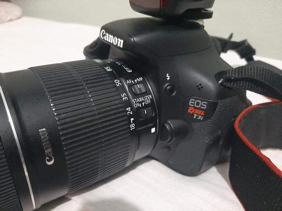 Maquina Canon T3i + Flash Yongnuo + Lente 18x135mm + Bolsa