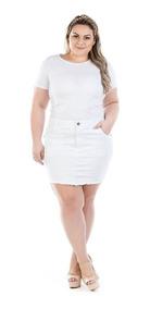 Saia Jeans Curta Branca Com Elastano Plus Size Saj086