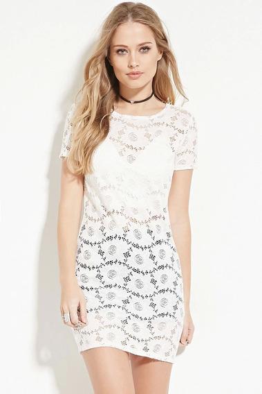 Vestido Importado Blanco Diseño Floral Hippie Chic Forever21