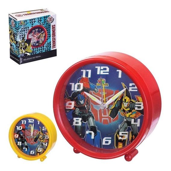 Relogio De Mesa Transformers Com Despertador Infantil Luxo R