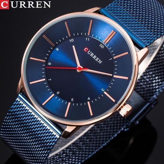 Relógio Curren 8303 Original Marca De Luxo Elegante Aço Inox