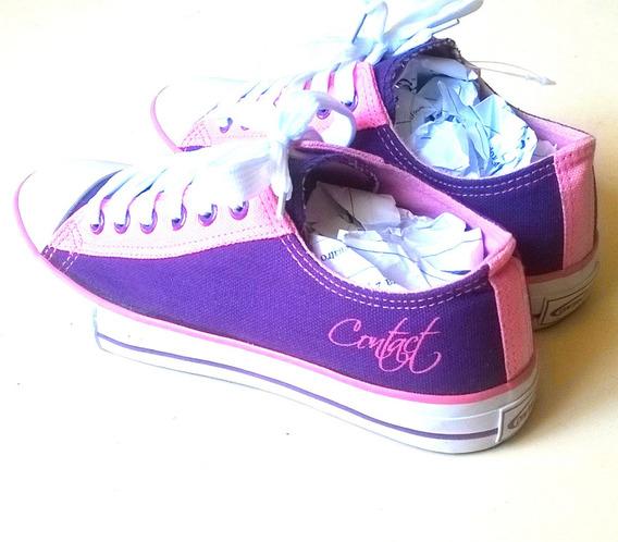 Zapatos Contact De Dama Tipo Convers Morado S10