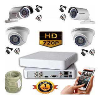 Kit Hikvision Turbo Hd Cctv Dvr 4ch + 4 Cámaras + 50mt Cable