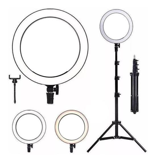 Ring Light Completo Iluminador Portátil 26cm Com Tripé 1.8m