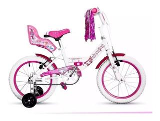 Bicicleta Rodado 16 Nena Niña Top Mega Full Ruedita Princesa