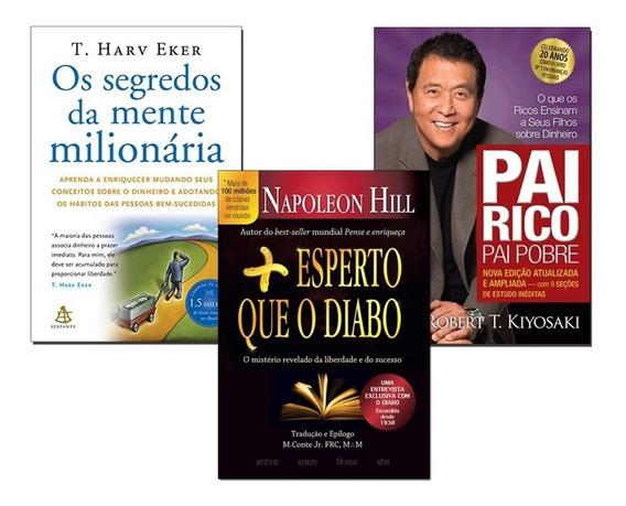 Livro Mente Milionária+ Pai Rico Pai Pobre+ Mais Esperto Que