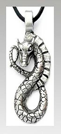 Colar Dragão Serpente - 40mmx20mm - *estanho Fundido