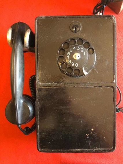 Antiguo Teléfono Público Americano Cerradura Funcionando