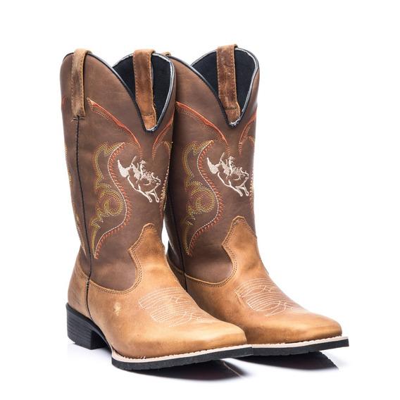 Bota Texana Masculino Em Couro Legitimo Boi Pulando Whisky