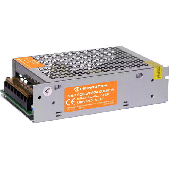 Fonte Chaveada Industrial Tipo Colméia 12v 10a Ftc1210