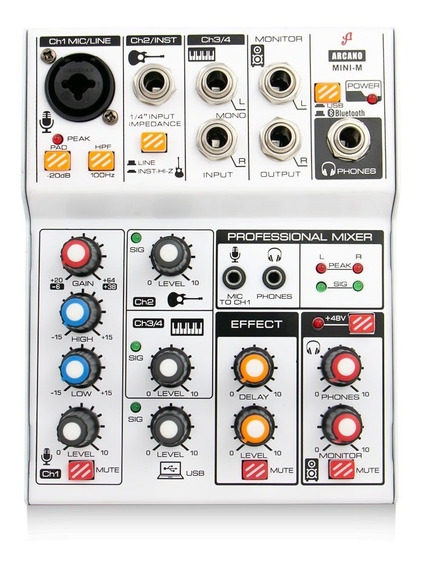 Interface Mesa De Som Arcano Mini-m 4 Canais Usb E Efeitos