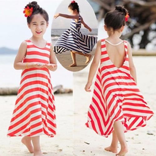 e30792820 Vestido De Rayas Fashion Verano Niña Girls Striped 4-11 Años
