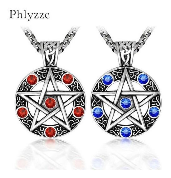 Colar Pingente Pentagrama Pewter Inoxidável Red Ou Blue