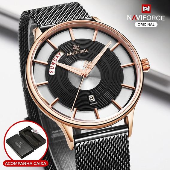 Relógio Masculino Casual Luxo Naviforce Original Preto
