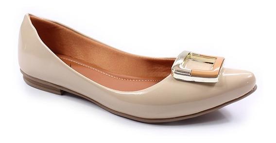 Sapatilha Bico Fino Feminina Thamy Shoes Verniz Salto Baixo