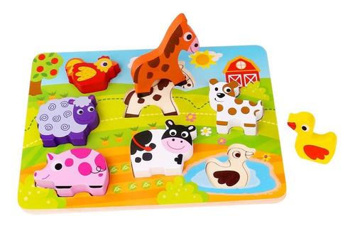 Imagen 1 de 5 de Puzzle Rompecabezas Encastre De Granja Con Volumen Tooky Toy