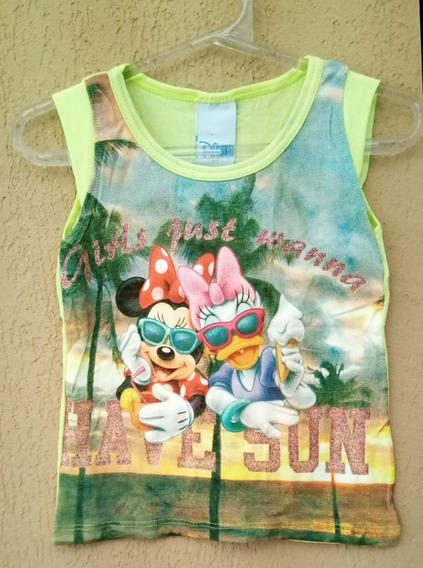 Blusa De Manguinha Infantil Bebe Meninas Minie Disney Verão
