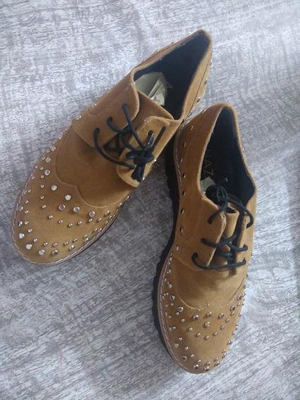 Zapatos De Gamuza De Mujer Nazaria. Color Marron Talle 36