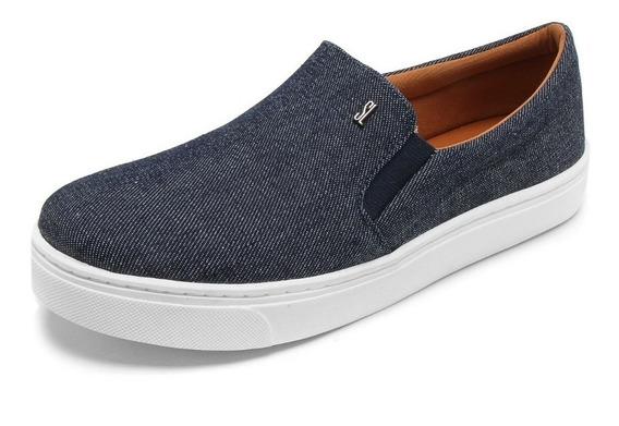 Tênis Slip On Santa Lolla Tecido Azul Jeans