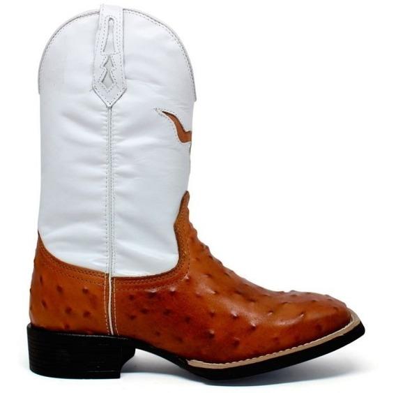 Bota Texana Bico Quadrado 100% Couro Bordada M2128