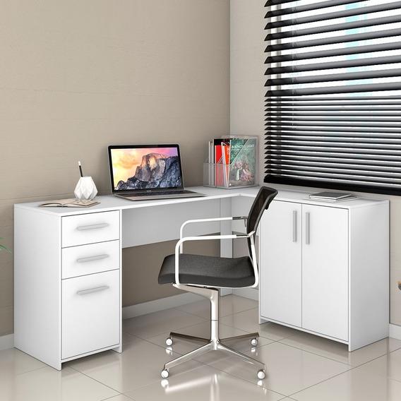 Mesa Home Office De Canto 03 Pts E 02 Gvts Nt2005 Branco New