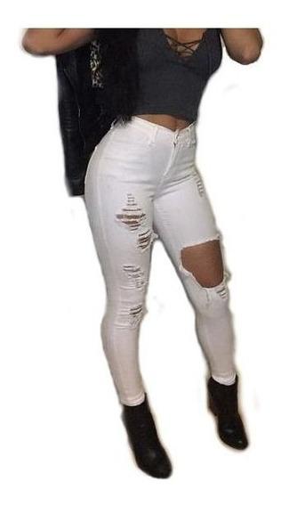 Calça Jeans Rasgada Lycra Cintura Alta Levanta Bumbum Dins