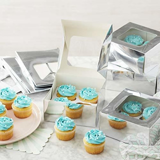 Wilton Cajas De Cupcakes Plateadas Con Ventanas, 9 Unidades.